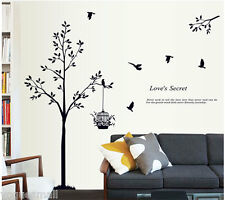 Tree Bird Birdcage Removable Vinyl Art Decor Home Room Wall Sticker Decal Mural