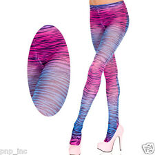 Opaque Zebra Print Pattern Cotton Candy Tights Pantyhose Pink Blue Raver Girl