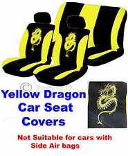6 Piece Yellow & Black Dragon Logo Car Seat Headrest Covers Cover Protector Set