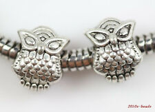 Wholesale 10pc Tibet silver Owl Big hole spacer beads 10x8mm