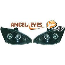 Coppia fari fanali anteriori TUNING FORD FOCUS 01-04 nero con anelli ANGEL EYES