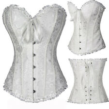 Women's Sexy Lace Up Brocade Overbust Corset Bustier Top Waist Training Cincher