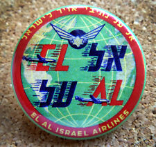 1952 EL AL Israel Airlines Design Button Pin Back Modernist Mid-Century Deco #23