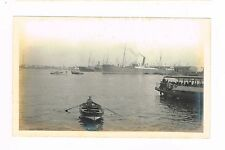 Antique Photo Barcelona Port Row Boat Ferry Vessels People Otto Wantzelius 1913