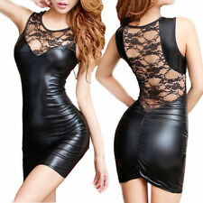Women Sexy Lace Mini Dress Wet Look Fetish Vinyl PVC Leather Bodycon Black XXL