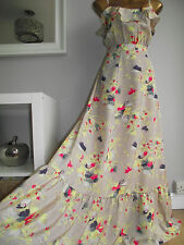 MONSOON DELANO MAXI FRILL NUDE FLORAL HOLIDAY WINTER SUN BEACH WEDDING DRESS 18
