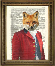 FOX HUNTER: Vintage Red Foxy Hunting Animal Dictionary Page Art Print