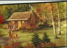 CABIN IN THE WOODS WITH DEER ROAMING CHESAPEAKE WALLPAPER BORDER LL50051B