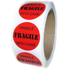 "Red ""FRAGILE Handle with Care"" Labels Stickers - 1.5"" diameter - 500 ct - SL019"