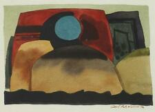 CARL MOLNO. (American, 20th century). ABSTRACT WITH BLUE CIRCLE, wate... Lot 278