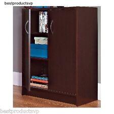 Storage Cabinet 2 Door Wood Floor Organizer Office Adjustable Stackable Cupboard