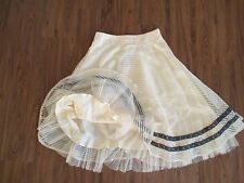 ANTHROPOLOGIE Ryu: Ivory Pale Yellow Layered Tulle Lace Skirt w/ Embroidery Sz S