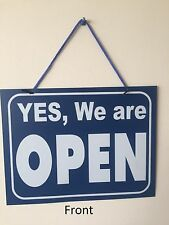 1 x Open / Closed Large Sign 30 x 23cm Plastic Shop Window Sign with Hanging NEW