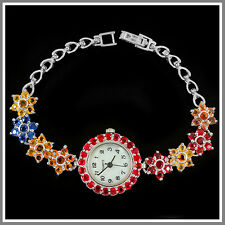 GENUINE 78PCS.AAA MULTI COLOR SAPPHIRE ROUND FACET STERLING 925 SILVER WATCH 7.5