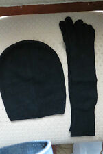 M.I.L.A. Cashmere Beanie and Glove Set Made in USA NWT – Black - $298