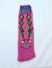 Toe Flip Flop Socks Fuzzy Fantasy Pet Pink Stripes Womens 9-11 Shoe size 5-9 J