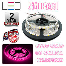 5M 12V Rosa LED STRISCIA LUMINOSA IP65 5050 300SMD 18lm / SMD 60SMD / M Bright Impermeabile