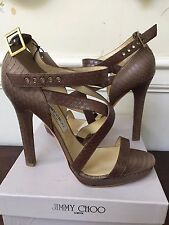 Fabulous & rare JIMMY CHOO Elaphe snake skin dark brown 41.5 size BNWT