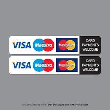 Ref2509 2 x pagamenti con carta di carta di credito accettate Adesivo Taxi shop Visa/Cartasì MasterCard/Eurocard