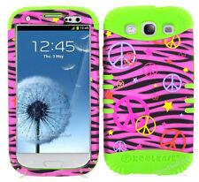 KoolKase Hybrid Silicone Cover Case for Samsung Galaxy S3 - Peace Zebra Pink