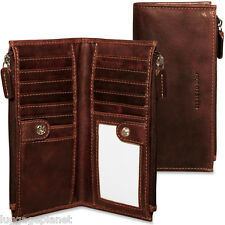 Jack Georges Voyager Collection Slim Double Zip Snap Wallet 7717 Brown