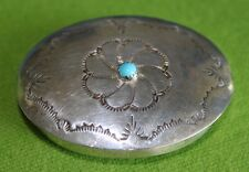Vintage Signed Navajo Stamped Sterling Silver Turquoise Snuff Trinket Pill Box