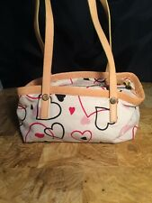 Moschino Canvas Leather Heart Bag Tote Carryall Purse Clutch