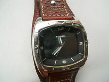 Fossil men's brown leather band watch.quartz,battery & water resistant watch