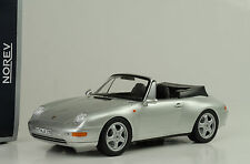 1995 Porsche 911 993 Cabriolet Convertible with roof Silver plata 1:18 norev