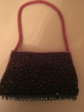 Ladies NEW Gorgeous Sexy Glamorous Handbag - Small Black Pink Sequin Evening Bag