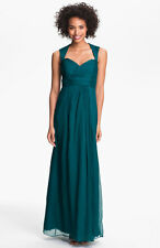 NEW AMSALE Crinkled Silk Chiffon  GOWN SIZE 6 $310 MALLARD GREEN BRIDESMAID