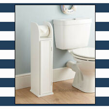 WHITE WOODEN FREE STANDING TOILET PAPER BATHROOM ROLL HOLDER STORAGE CABINET
