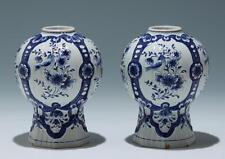 Pair of Dutch Delft Blue and White Vases circa 1900      #17296