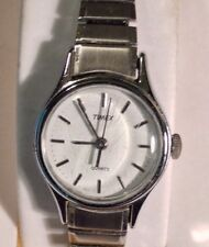 Vintage Ladies Timex Wristwatch Silvertone With Stretch Band