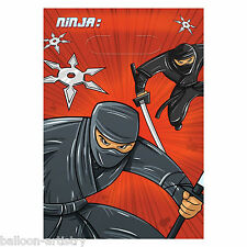 8 Masked Ninja Assassin Children's Party Plastic Favour Gift Loot Bags