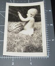 Child in Diaper BIG WATERMELON Outside TOY Drum Strange Vintage Snapshot PHOTO