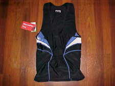 TYR Cmpetitor Collection SCMS6A Black White Blue Male Singlet Triathlon M New