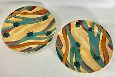 """Expensive Pieces 1982 Santa Fe Art Pottery 7½"""" Plate Artist Signed Set of 2"""