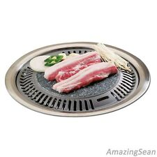 Korean BBQ Stone Plate Stovetop Barbecue Steak Chicken Ribs Pork Belly Grill Pan
