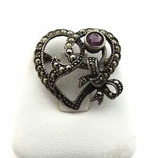 VINTAGE STERLING SILVER AMETHYST MARCASITE HEART AND BOW BROOCH PIN 4.5 Gr.