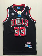 New Chicago Bulls NO.33 Scottie Pippen Black Basketball Jersey Size:S-XXL