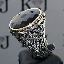 925 Sterling Silver Mens Ring with Black Onyx Unique artisan jewelry