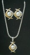 14k Yellow Gold White Gold Pearl Earrings Pendant Chain Necklace Estate 11.1 gm