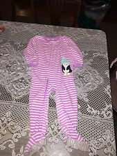 Girls Clothes Carter's Purple & White Striped Penguin Footed Pajamas PJs size 3T