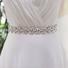 Bridal Wedding Bridesmaid Dress Sash Crystal Rhinestone White Ribbon Waist Belt