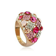 STUNNING LARGE 18K ROSE GOLD PLATED GENUINE CZ & AUSTRIAN CRYSTAL PINK RING