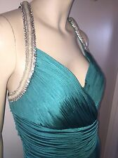 VALENTINO GREEN SILVER CRYSTAL EMBROIDERED PLEATED DRESS GOWN 44 8-10