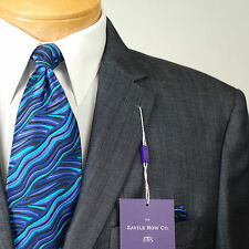 54R  SAVILE ROW 2 Button Blue & Black Men's Sport Coat  54 Regular - S58