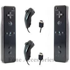 Wii Motion Plus x2 Remote Controller x2 Nunchuck For Nintendo Wii BLACK Bundle