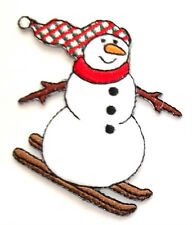 SNOWMAN SKIING COUNTRY WINTER IRON ON APPLIQUE PATCH